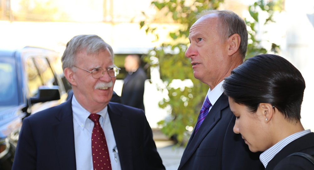 Russian Security Council Secretary Nikolai Patrushev (second from right) and US National Security Adviser John Bolton during a meeting in Moscow.