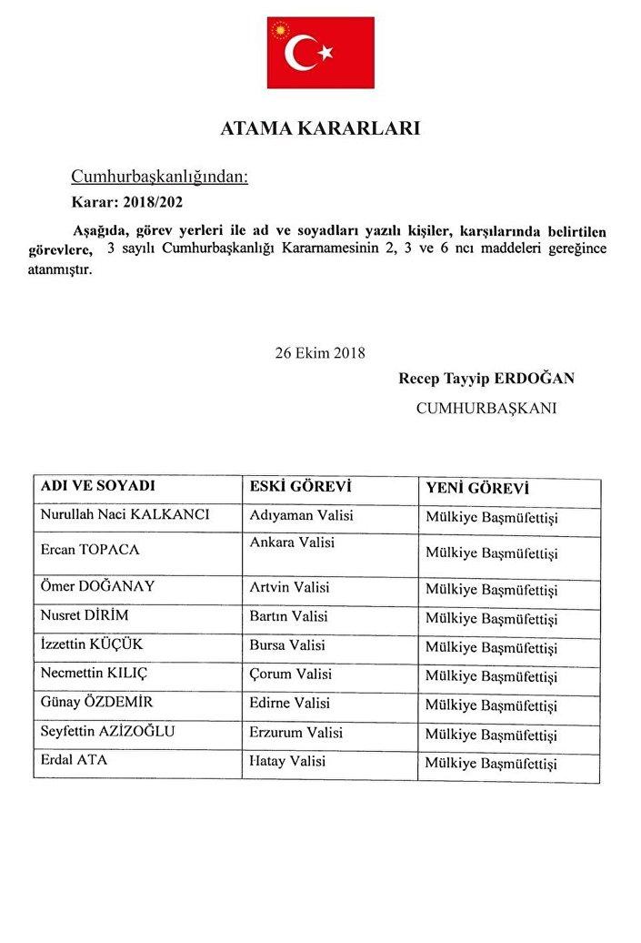 Valiler kararnamesi Resmi Gazete'de yayımlandı