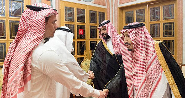 Kaşıkçı'nın iki oğlundan Salah, bir akrabalarıyla birlikte Suudi Kralı ve Veliaht Prensi tarafından kabul edilirken