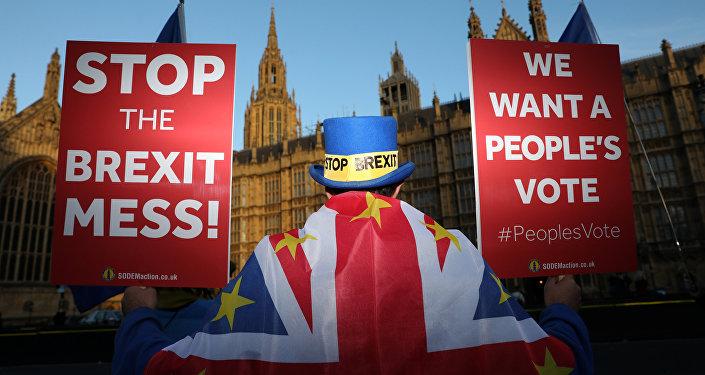 Londra'da parlamento önünde protesto düzenleyen Brexit karşıtları, ikinci referandum istiyor.