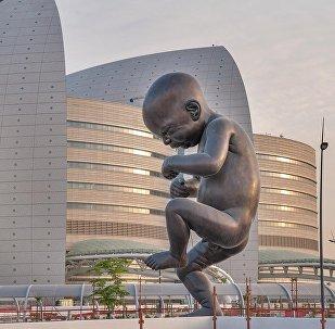 Katar'ın Sidra hastanesi kadın sağlığı merkezinin önüne, fetüsün döllenmesinden doğumuna uzanan evreleri tasvir eden bir heykel dizisi yerleştirildi.