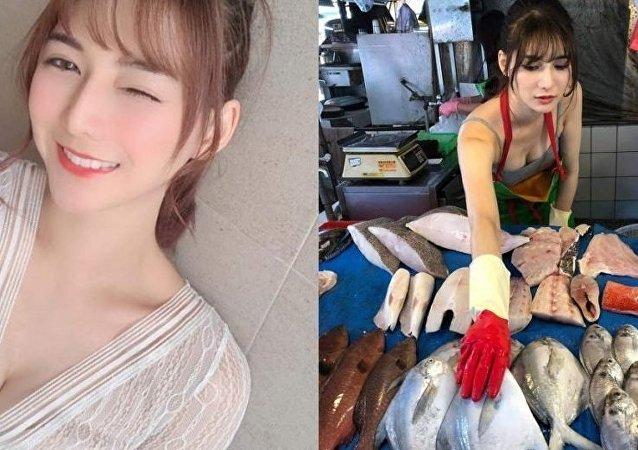 Tayvan'da bir balık satıcısı, güzelliğiyle herkesi hayran bıraktı