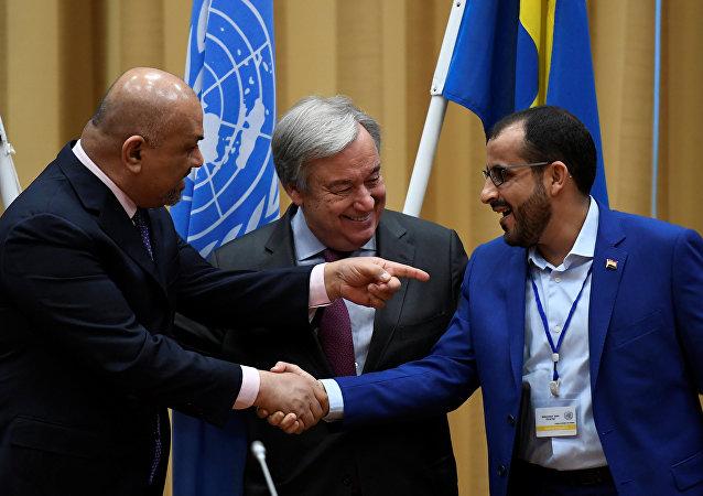 Yemen Dışişleri Bakanı Halid el Yaman, BM Genel Sekreteri Antonio Guterres, Husiler heyeti başkanı Muhammed Abdul Selam