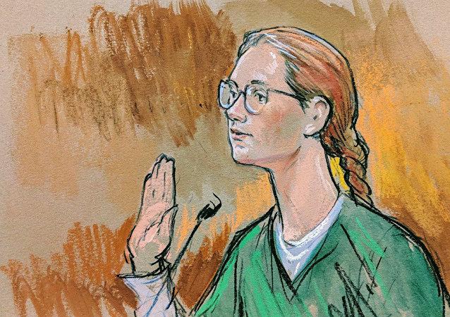 Washington'daki ABD Bölge Mahkemesi'nde yargılanan Rusya vatandaşı Mariya Butina'nın duruşma çizimi