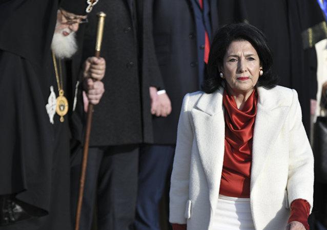 The new Georgian President Salome Zurabishvili arrives to attend her inauguration in Telavi, Georgia, Sunday, Dec. 16, 2018