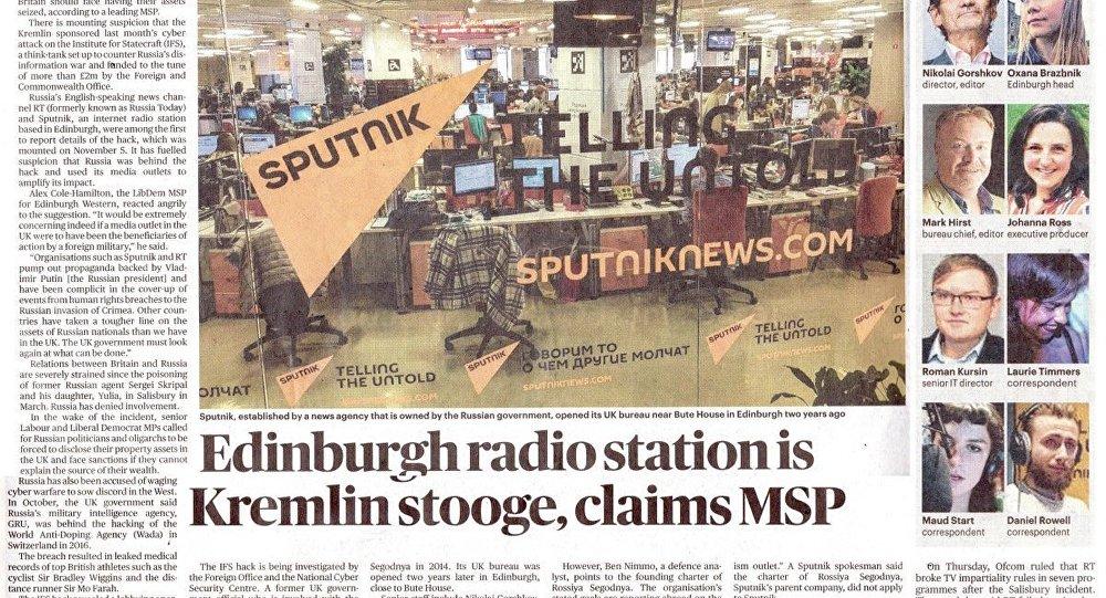 The Times, Sputnik'in Edinburgh ofisindeki çalışanlarını hedef tahtasına koydu