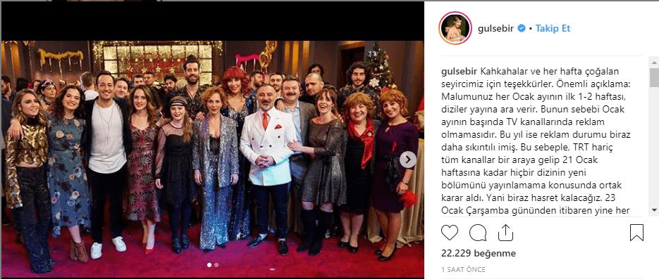 Gülse Birsel, söz konusu açıklamayı kişisel Instagram hesabı üzerinden yaptı