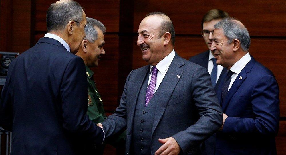 Rusya Dışişleri Bakanı Sergey Lavrov-Rusya Savunma Bakanı Sergey Şoygu-Dışişleri Bakanı Mevlüt Çavuşoğlu-Milli Savunma Bakanı Hulusi Akar