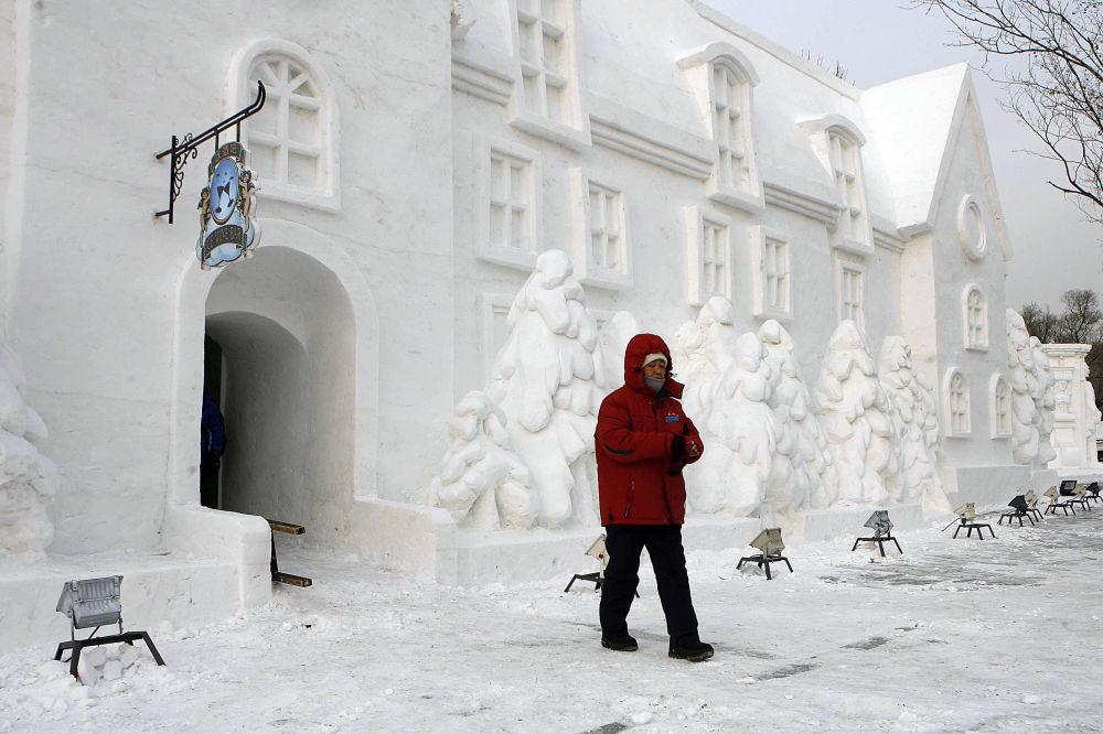 Dunyadan goz alıcı kardan heykeller