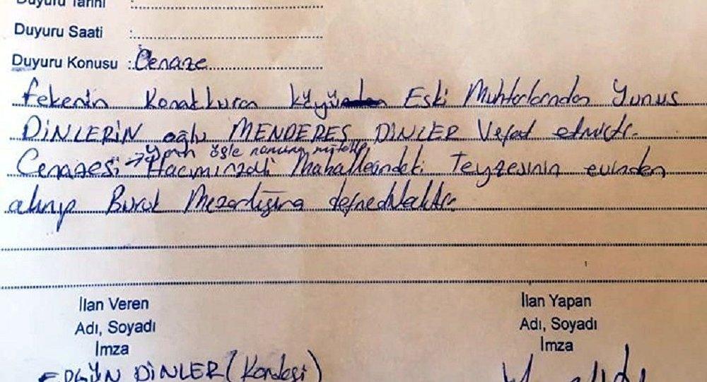 Kendi ölüm ilanını okuttu, hakkında soruşturma açıldı
