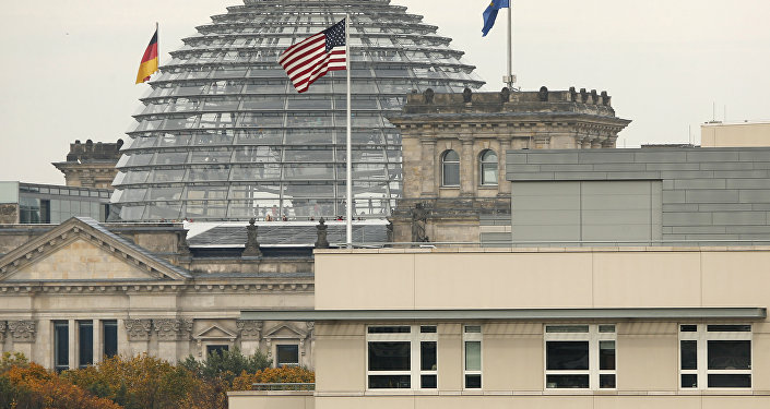 American flag flies on top of the U.S. embassy in front of the Reichstag building that houses the German Parliament, Bundestag, in Berlin, Germany (File)