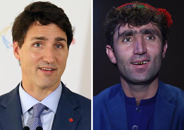 'Afgan Star' yarışmacılarından Abdul Selam Meftun,  Justin Trudeau'ya (sağda) benzerliğiyle sosyal medyada fenomen haline geldi.