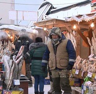 Eksi 50 derecede bile hizmet veren dünyanın en soğuk pazar yerinden görüntüler