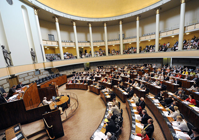 Finlandiya meclis binasının içeriden bir görünümü
