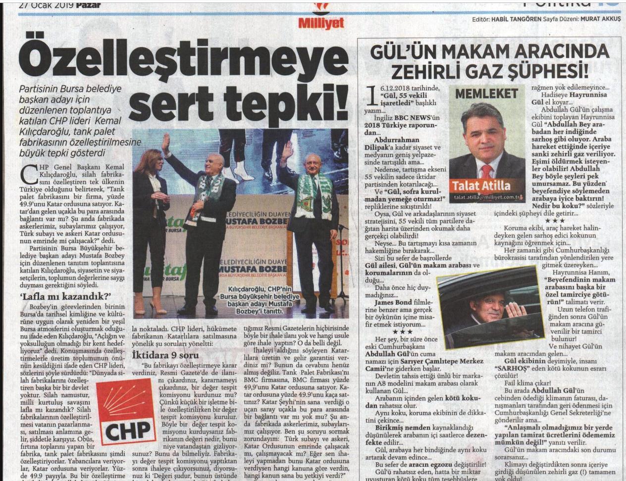 Talat Atilla'nın yazısı, 27 Ocak'ta yayımlanmıştı. Yazı daha sonra Milliyet'in internet sitesinden kaldırıldı.