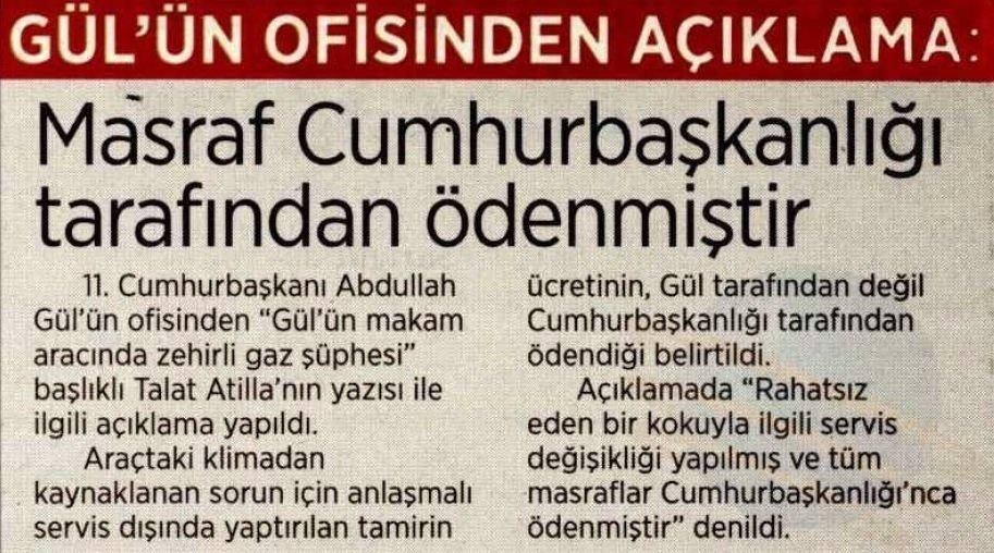 11. Cumhurbaşkanlığı Ofisi'nden yapılan açıklama, Talat Atilla'nın yazısını internet sitesinden kaldıran Milliyet tarafından yayınlandı.