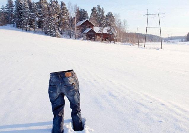 Sibiryalılardan donmuş pantolonlu flashmob