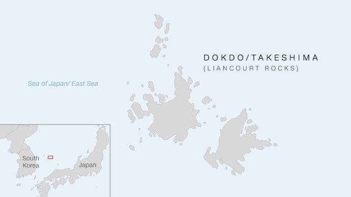 Dokdo Adaları'nın haritadaki konumu