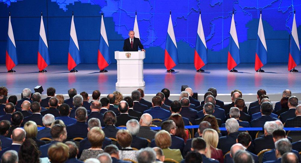 Putin'in Federal meclis konuşmasından bir kare