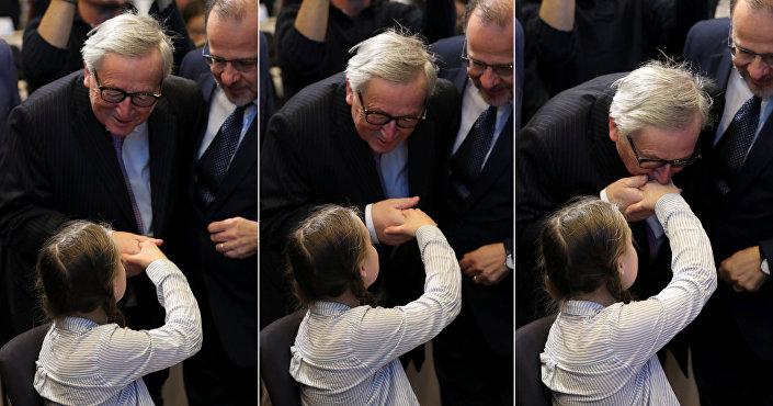 Avrupa Komisyonu Başkanı Jean-Claude Juncker, aktivist Greta Thunberg'i selamladı