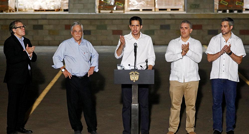 Juan Guaido, Kolombiya Devlet Başkanı Ivan Duque, Şili Devlet Başkanı Sebastian Pinera, Paraguay Devlet Başkanı Mario Abdo Benitez ve Amerikan Devletleri Örgütü (OAS) Genel Sekreteri Luis Almagro