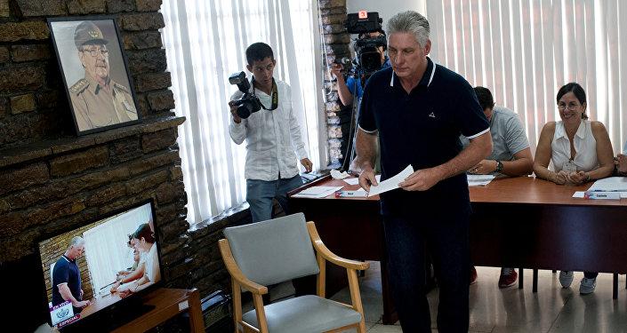 Küba Devlet Başkanı Miguel Diaz Canel, oy kullandıktan sonra açıklama yaptı