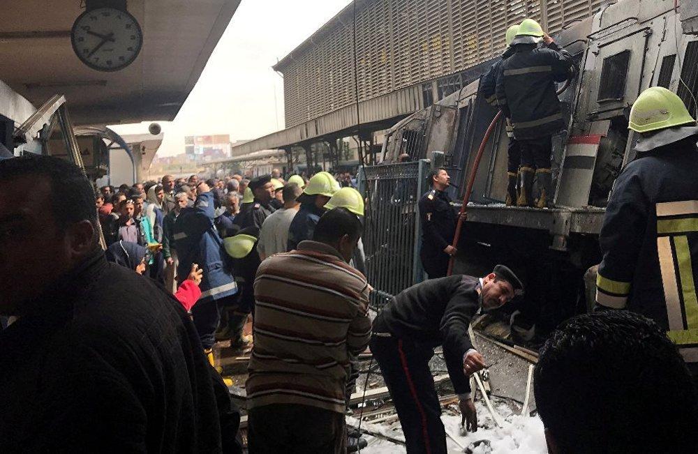 Kahire'deki tren istasyonunda yangın