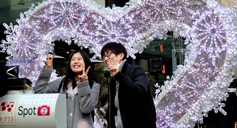 Japonya, Tokyo'da bir çift