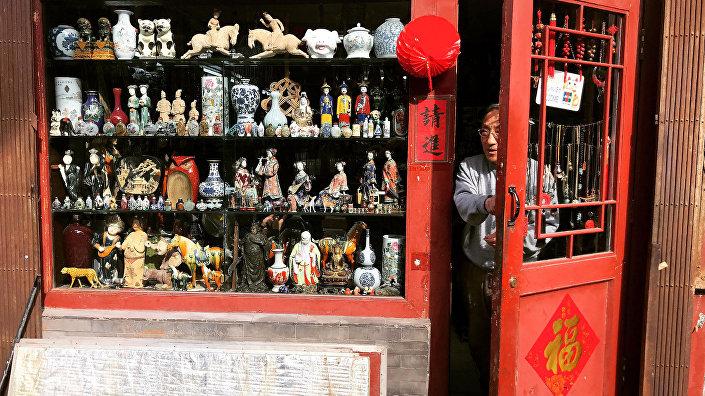 Çin'in başkenti Pekin'de yer alan Liulichang sokağından bir görüntü