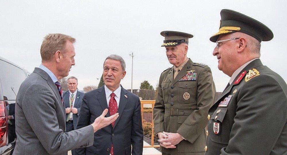 Acting Secretary of Defense Patrick Shanahan, Turkish Defense Minister Hulusi Akar, U.S. Joint Chiefs of Staff Gen. Joseph Dunford, Commander of the Turkish Armed Forces Gen. Yaşar Güler