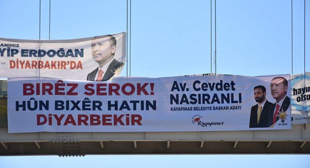 Diyarbakır'da Erdoğan için Kürtçe pankart