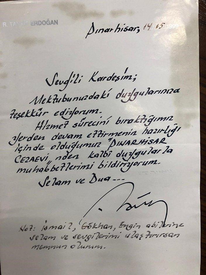Cumhurbaşkanı Recep Tayyip Erdoğan, Pınarhisar Cezaevi'nde Burak Soylu'ya yolladığı mektup