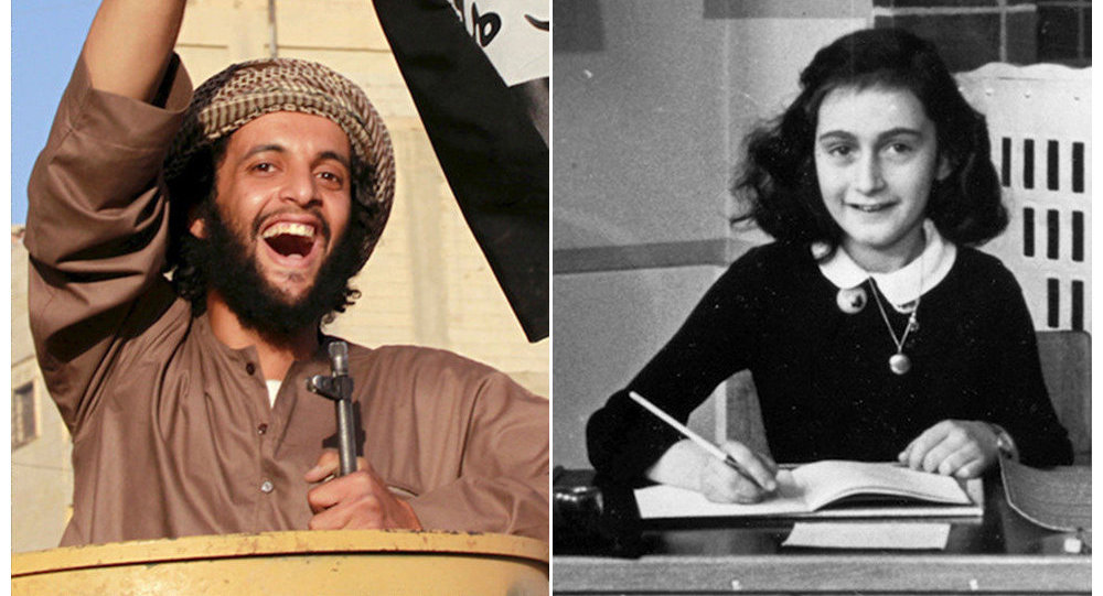 Suriye'de bir IŞİD savaşçısı (solda), Nazilerden saklandığı iki yıl boyunca yaşanan olayları günlüğüne yazdıktan sonra Naziler tarafından bulunup toplama kampında ölen Anna Frank (sağda)