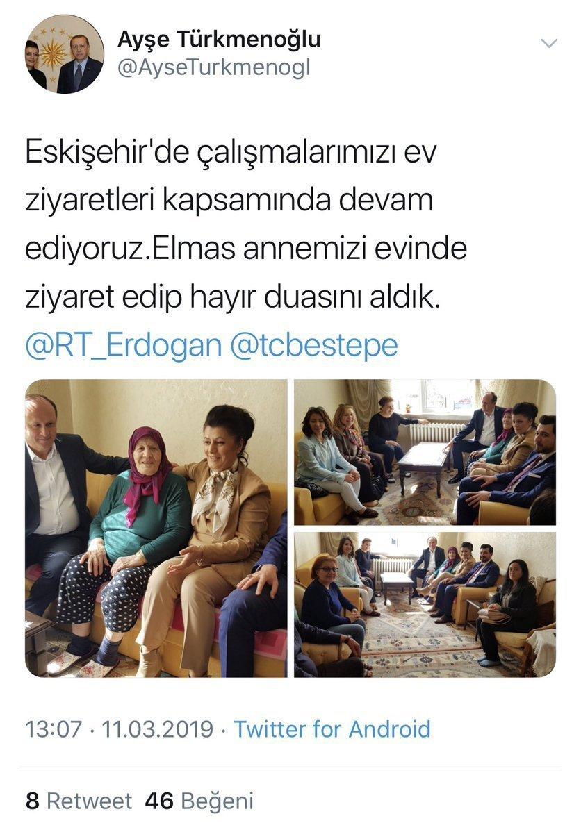 Ayşe Türkmenoğlu'nun seçim çalışmalarını ev ziyaretleriyle devam ettirdiklerini yazdığı paylaşımı