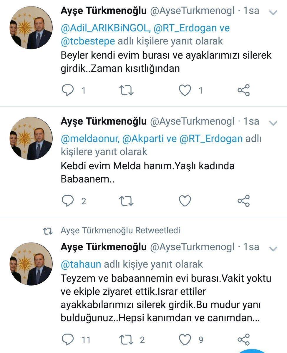Ayşe Türkmenoğlu'nun Twitter'dan verdiği cevap
