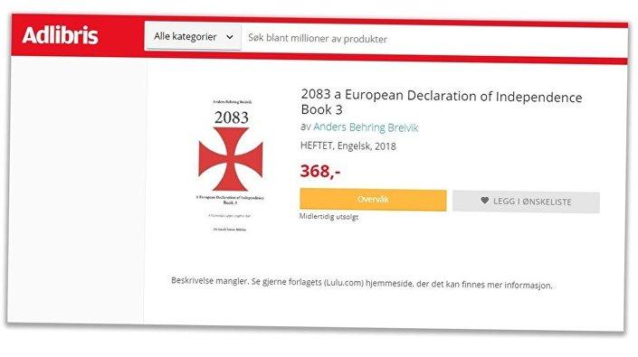 Norveç'te 2011'de 77 kişiyi öldüren Anders Behring Breivik'in '2083 Avrupa Bağımsızlık Bildirgesi' başlıklı ırkçı manifestosunun internette satıldığı ortaya çıktı.