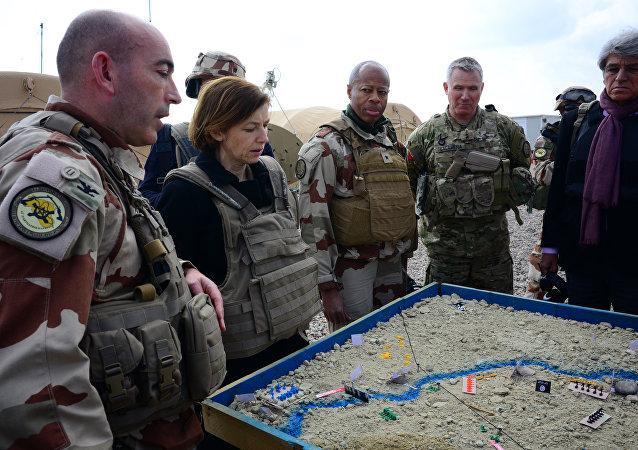 Fransa Dışişleri Bakanı Florence Parly ile Fransız askerler
