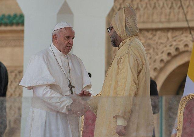 Katolik dünyasının ruhani lideri Papa Francis ve Fas Kralı 6. Muhammed