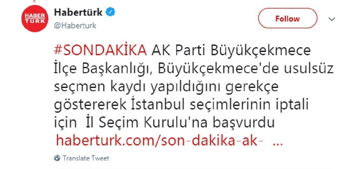 İlk olarak Habertürk tarafından servis edilen haberin anonsu.