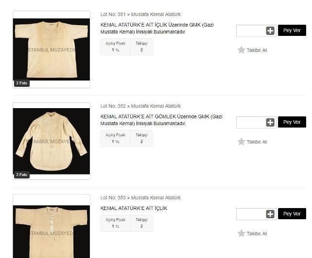 Mustafa Kemal Atatürk'e ait olduğu iddia edilen 3 adet iç çamaşırı, 1 adet gömlek ve 4 adet mendil Nişantaşı'nda bulunan İstanbul Müzayede tarafından 1 TL'den satışa çıkarıldı