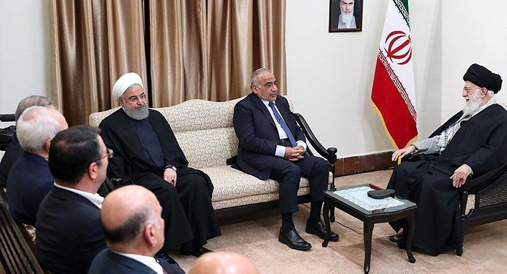 Irak Başbakanı Adil Abdulmehdi, İran lideri Ayetullah Ali Hamaney ve İran Cumhurbaşkanı Hasan Ruhani
