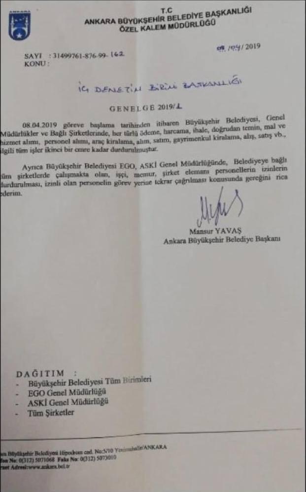 Ankara Büyükşehir Belediye Başkanı Mansur Yavaş mazbatasını almasının ardından ilk genelgesini yayınladı.
