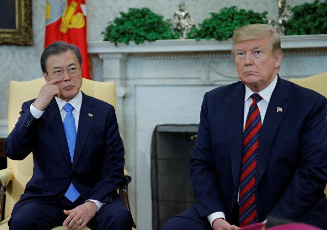ABD Başkanı Donald Trump ve Güney Kore Devlet Başkanı Moon Jae-in