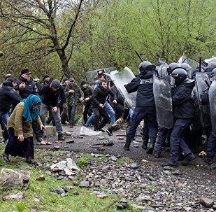 Gürcistan'daki HES protestosu