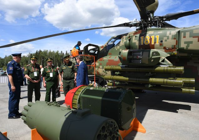 Rusya'nın Moskova bölgesindeki Patriot Parkı'nda kapılarını açan ARMY-2019  Askeri Teknik Forumu'nda tanıtılan Mi-28NE tipi taarruz helikopteri.