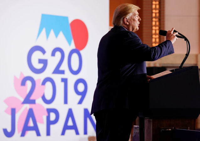 U.S. President Donald Trump holds a news conference on the final day of the G20 leaders summit in Osaka, Japan June 29, 2019. REUTERS/Kevin Lamarque