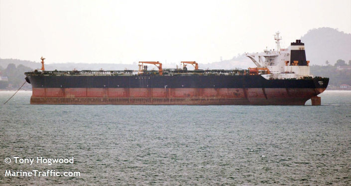 Oil supertanker Grace 1 is seen near Singapore, in this picture obtained from social media, March 29, 2015. Picture taken March 29, 2015. Tony Hogwood via REUTERS   ATTENTION EDITORS - THIS IMAGE HAS BEEN SUPPLIED BY A THIRD PARTY. MANDATORY CREDIT. NO RESALES. NO ARCHIVES.