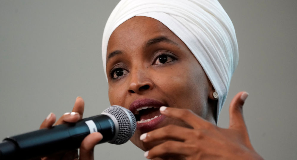U.S. Rep Ilhan Omar (D-MN) takes part in a discussion on Impacts of Phobia in Our Civic and Political Discourse during the Muslim Caucus Education Collective's conference in Washington, U.S., July 23, 2019.  REUTERS/Kevin Lamarque