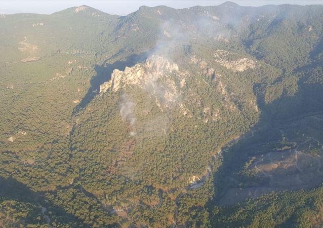 İzmir'de Karagöl Tabiat Parkı yakınlarında bulunan ormanlık alanda henüz belirlenemeyen nedenle yangın çıktı. Yangını kontrol altına alma çalışmaları sürüyor.