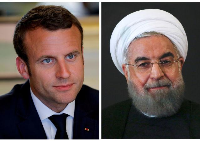 İran Cumhurbaşkanı Hasan Ruhani ile Fransa Cumhurbaşkanı Emmanuel Macron